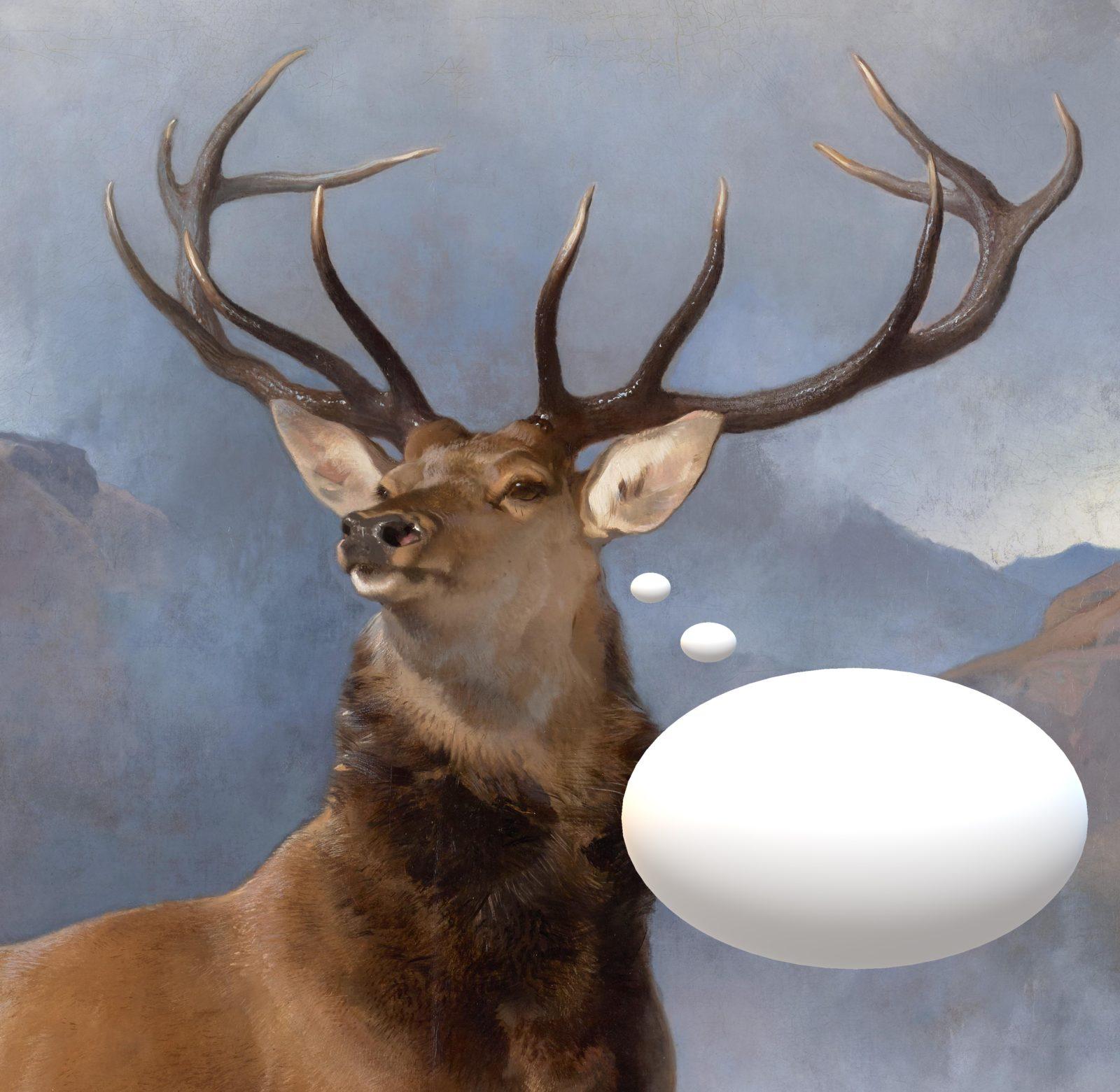 Obrazek kolorowy przedstawiający popiersie jelenia z okazałymi rogami. W tle widzać zamglone góry. Od głowy jelenia odchodzi pusty, biały dymek komiksowy.