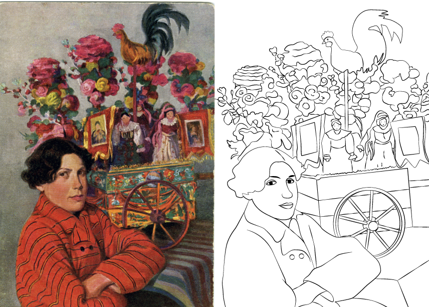 Ilustracja połączona z kolorowanką. Przedstawia wizerunek kobiety ze skrzyżowanymi na piersi rękami, ubranej w czerwony strój. W tle widoczny kolorowy wóz, na którym znajdują się: kogut, ozdoby z kwiatów, wizerunki świętych, figurki osób ubranych w tradycyjne stroje.