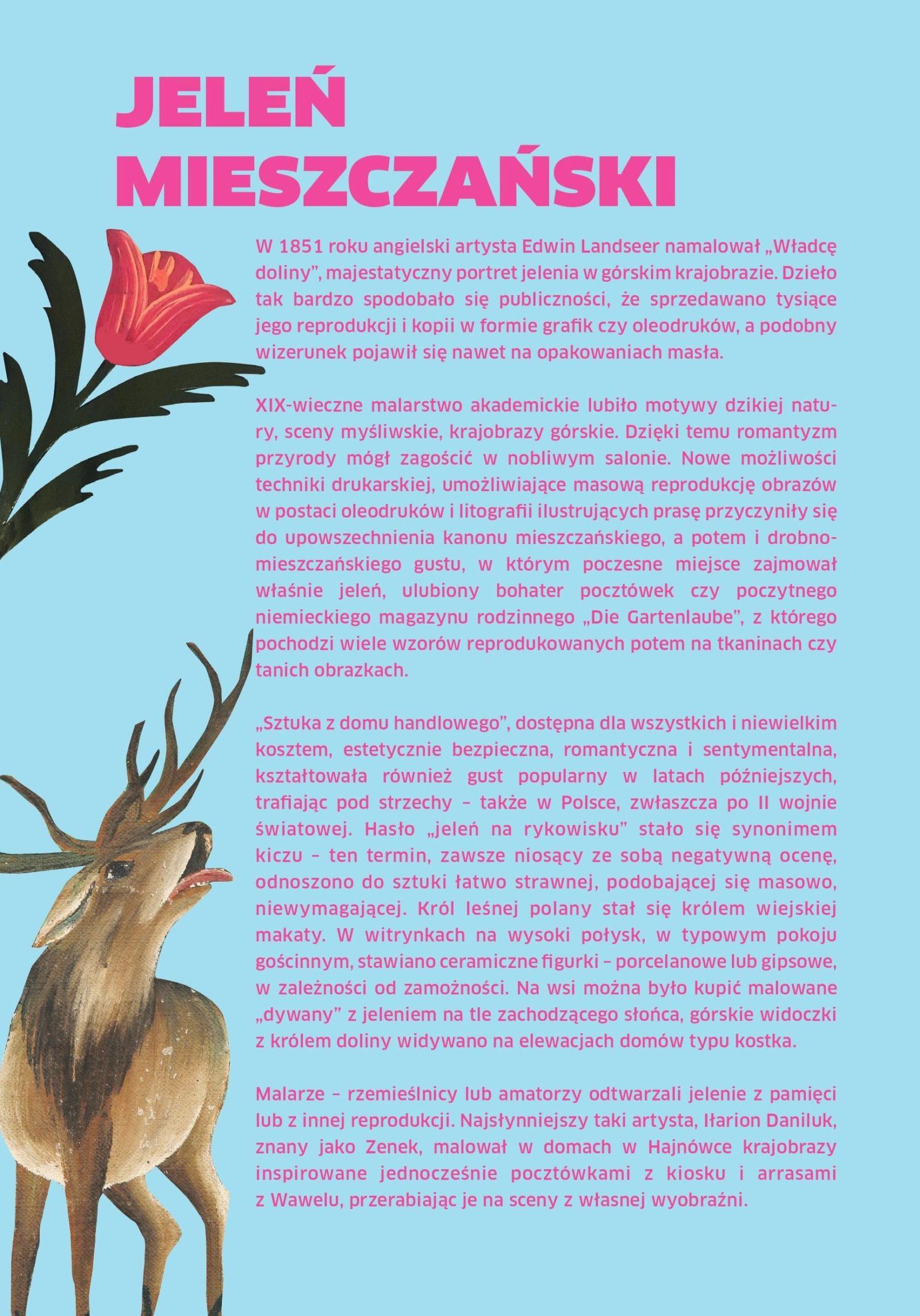 Strona ulotki zatytułowanej: Jeleń mieszczański. Jasnoniebieskie tło, obok tekstu widoczny wizerunek tulipana oraz ryczącego jelenia.