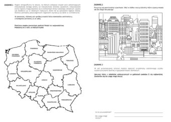 Karta pracy do wystawy: kolorowanie mapy, zaznaczanie obiektów w mieście, rysowanie obiektów