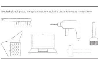 Zadanie z broszury edukacyjne do wystawy do druku: narzędzia bartnika