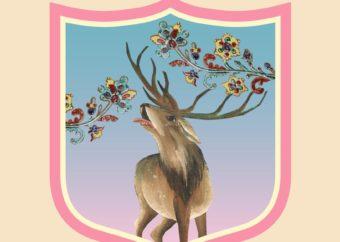 Graficzny herb wystawy. Herb przedstawia jelenia z jednej z makatek muzealnych na błękitno różowym tle uzupełnionym gałęziami z kwiatami.