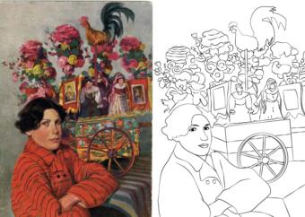 Kolorowanka wielkanocna do druku: mężczyzna na tle kurka wielkanocnego