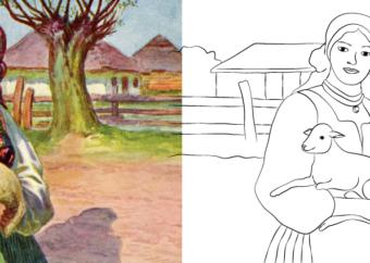 Kolorowanka wielkanocna do druku: Dziewczyna z barankiem