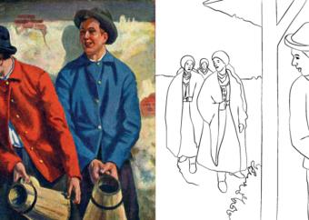 Kolorowanka wielkanocna do druku: chłopacy czekający z wiadrami w dyngus