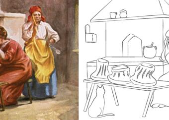 Kolorowanka wielkanocna do druku: kobiety przygotowujące świąteczny posiłek w kuchni