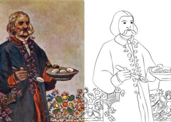 Kolorowanka wielkanocna do druku: mężczyzna z ugotowanymi jajkami na półmisku, w tle kwiaty