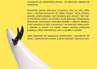 Plansza pod tytułem Jeleń współczesny - tekst do części wystawy