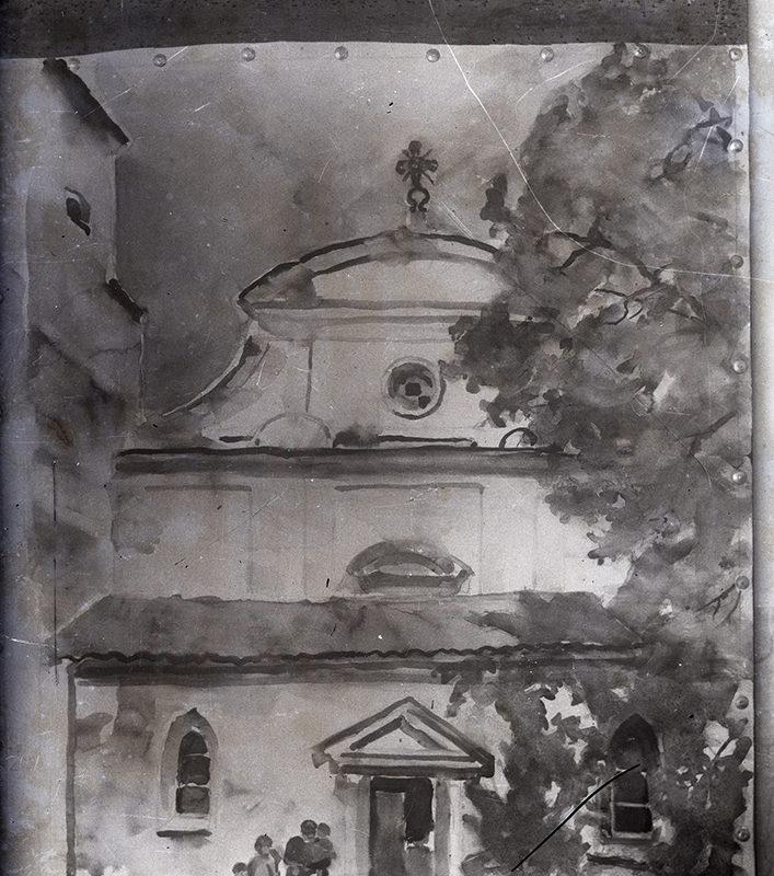Akwarela przedstawiająca barokową fasadę kolegiaty św. Małgorzaty w Nowym Sączu. Fasada jest trzykondygnacyjna, z frontonem nad drzwiami do zadaszonego przedsionka i dwoma oknami z ostrołukowym wykończeniem, z półkolistym naczółkiem nad daszkiem przedsionka, lizenami na ścianie fasady, umiejscowioną centralnie rozetą i krzyżem na szczycie budynku. Z prawej strony duże liściaste drzewo częściowo zasłania fasadę kościoła.