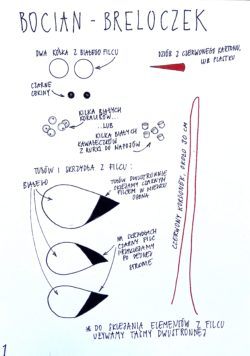 Graficzna instrukcja do wykonania breloczka