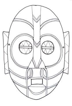 Kolorowanka do druku przedstawiająca maskę.