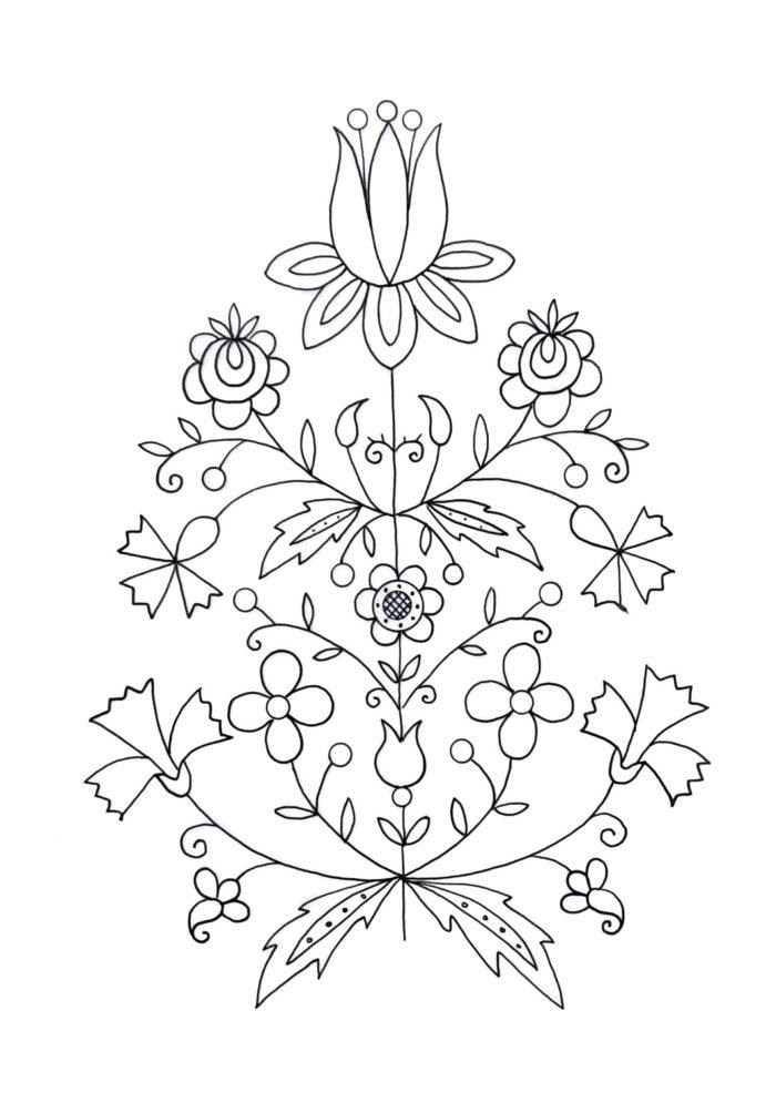 Grafika do druku ze wzorem kaszubskim.
