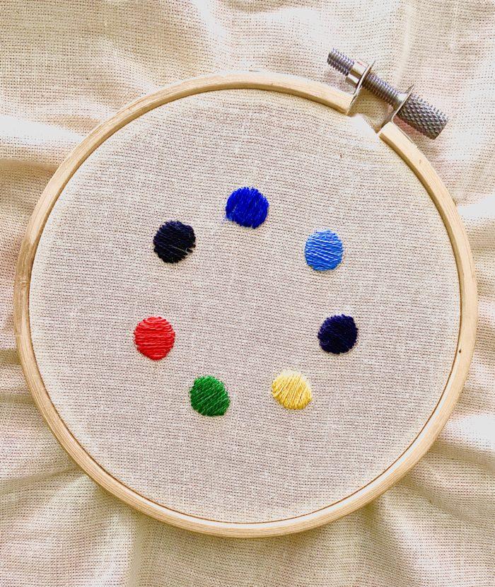 Tamborek z naciągniętym płótnem, na którym widać wyszyte małe kolorowe kółeczka.