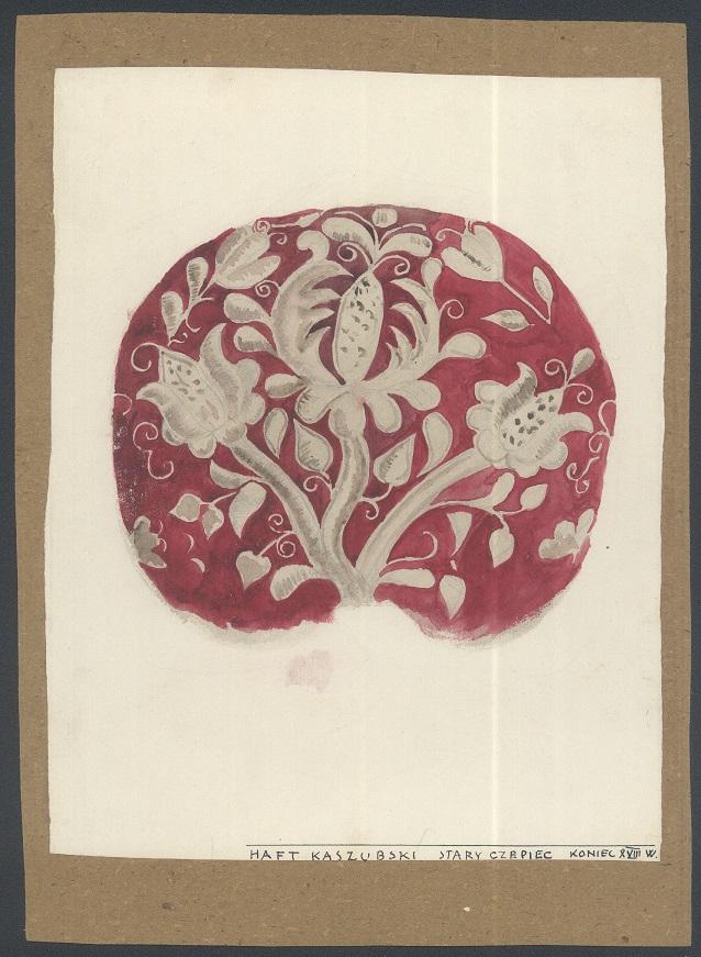Malunek czepca z wyszywanym wzorem kaszubskim.