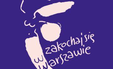 """Graficzna Syrenka warszawska z napisem """"Zakochaj się w Warszawie"""""""