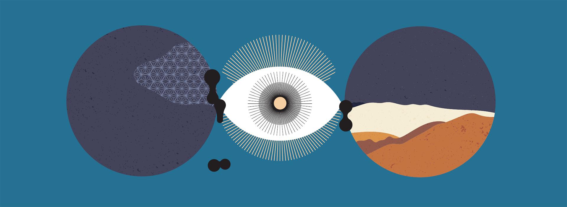 """Grafika do wystawy """"Eureka, czyli odkrywam"""". Na niebieskim tle trzy okręgi: środkowy to oko, które nawiązuje do czynności obserwacji; dwa pozostałe okręgi są bardziej abstrakcyjne."""