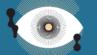 Ilustracja kolorowa przedstawiająca koncentrycznie umieszczone oko na niebieskim tle. Wokół oka widoczne czarne plamki o nieregularnych kształtach.