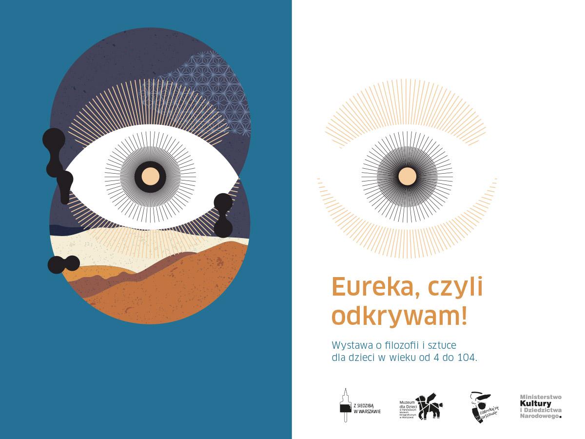 Grfaika promująca wystawę: oko, poniżej postynia nad nią niebo. Obok wariacja na temat tej grafiki w wersji jasnej i infromacje o wystawie.