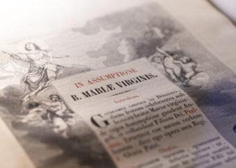 Zdjęcie kolorowe, przedstawiające zbliżenie na jedną z książek prezentowanych na wystawie. W kadrze widoczne fragment tekstu w języku łotewskim oraz czarno-białe grafiki.