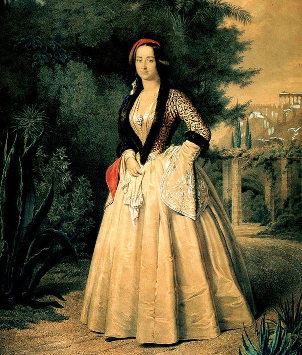 Zdjęcie obrazu na którym jest młoda królowa w ogrodzie nosząca ozdobną suknię