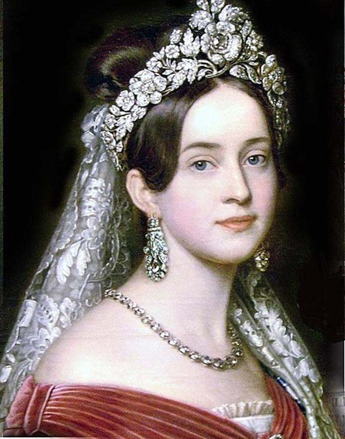 Zdjęcie fragmentu obrazu na którym widać młodą, piękną księżniczkę w biżuterii