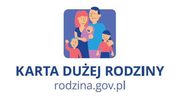 """Grafika programu """"Karta Dużej Rodziny"""". Logo sładające się z wierunków rodziców i trójki dzieci. Pod nim napis: Karta Dużej Rodziny i adres witryny www.rodzina.gov.pl"""
