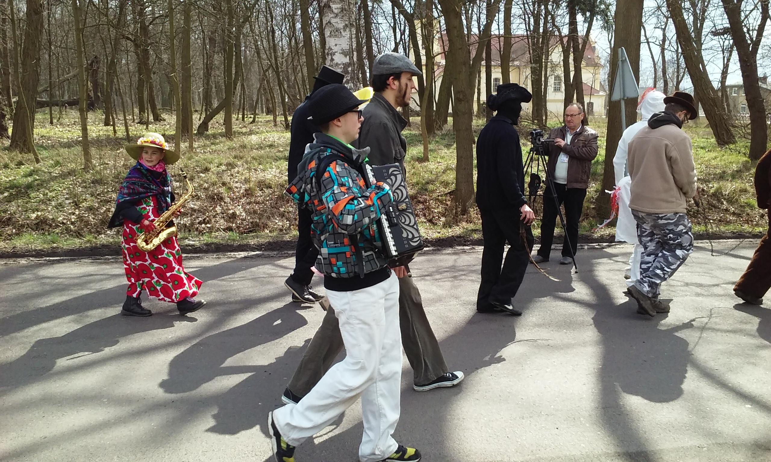 Uczestnicy Siwków. Na zdjęciu przebierańcy w pochodzie na ulicy.