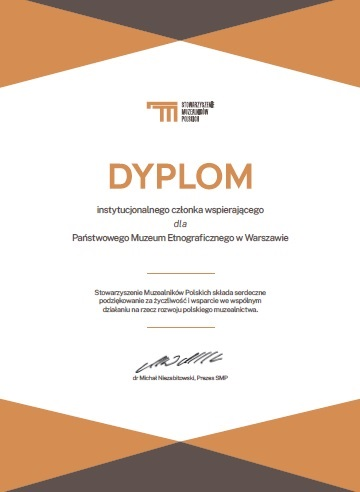 Dyplom dla PME w związku z członkowstwem w Stowarzyszeniu Muzealników Polskich