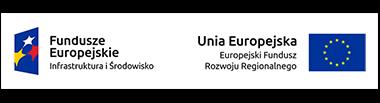 Po lewej logotyp Funduszu Europejskiego Infrastruktury i Środowiska, a po prawej logotyp Europejskiego Fundusz Rozwoju Regionalnego Unii Europejskiej.